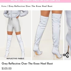 Reflective knee high boots